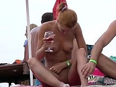 Nude Beach - Hot Redhead Touches Penis & enjoys Red Wine