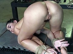 bound submissive gets fucked from behind