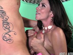 Ariella Ferrera is a busty chick who needs to bounce on a cock
