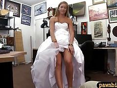Babe sells her wedding dress and fucked by pawn keeper