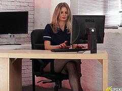 Delicious office slut in stockings Leah shows off her juicy pussy
