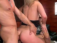 Watch this blonde hoe Madelyn Monroe as she is getting rammed heavily by two guys with a hard dick in a super hot threesome. Wouldn't that be every man's dream?