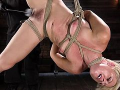 A whip with a rubber tip is in his hands and he skillfully punishes her swollen pussy, shoving his fingers inside of her warm flesh, from time to time, to double the pleasure. Naked, bound and suspended, Helena moans, ready to take what will come next. Join and enjoy brutal orgasms!