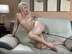 This blonde milf will never need a man because she had a fucking machine, that can make her cum harder than any cock possibly ever could. She takes that fake dick so deep in her cunt. She is screaming and cumming all over the place.