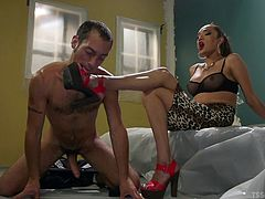 Jessica had a firm grip on his cock and balls. This stunning shemale is so horny all of the time. She clearly in charge and she can make her man do anything she wants, including licking her sexy toes and worshipping her.