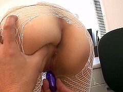 Slim Japanese slut Mai Shirosaki in ripped white fishnet pantyhose displays her lovely ass and gets her wet pussy fingered from behind while sucking another lucky guy's hard dick.