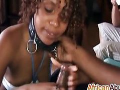 Delicious african sex slave blowjobbing