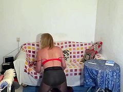 Hot tranny does striptease and masturbates until her orgasm