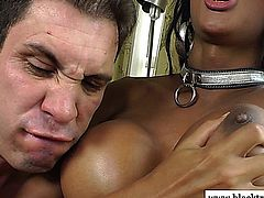 Busty ebony tranny shemale gags on cock