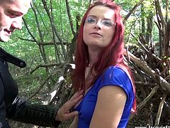 French mature lady ride two guys in woods