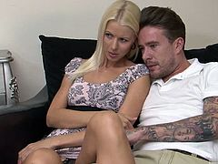 Lynna Nilsson wasnt planning on taking a load in her pussy, so shes a little upset once she realizes George ejaculated right in her vagina. It all started when she sat on the couch with him and started watching television. She quickly got her head in his crotch her it belongs, and after sucking him off for a while, she gets right to bending over and taking his long dick in and out of her wet vagina. Soon she realizes what hes done, and her mood quickly changes.