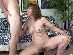 Sexy granny shows her juicy tits and mature pussy She rubs her pussy She sucks a long and stiff cock Then takes it in her pussy and get fucked good