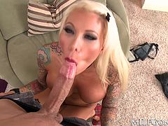 Lolly Ink is a smoking hot, busty blonde MILF with a passion for cock. Watch as she bends over and takes this big cock deep in her shaved fuck hole.