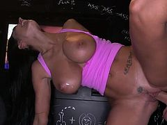 Huge titted stunner cockriding at gloryhole
