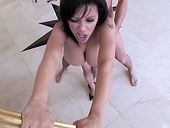 Sexy black Brit, Alexis Silver, unleashes her massive mammaries in this hot, titscentric interracial sex scene from Digital Sins Super Naturals 8, giving him an enthusiastic blowjob before shes treated to a vigorous fucking of her tight shaved pussy, then eating his cum off of her breasts.