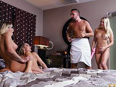I can only envy Keiran's health and tenacity with which he is fucking these super hot pornstars one after another, and sometimes even all together. Three juicy pussies for one horny stallion, it seems fate pampers him. Enjoy hot foursome!