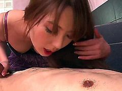 Giving a sexy and erotic blow job is a specialty of this Asian hottie with luscious lips, yui hatano. She sucks that stiff pecker and gives him a handjob that he cannot refuse
