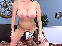 Tara Holiday is a big titted ho step-mom on fire. Passionate big titted woman with juicy plump ass gets her soaking wet pussy fucked hard on a double size bed by lucky dude Van Wylde.