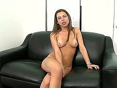 Long haired charming casting girl Jennifer Blaze poses naked on the couch and shows her tan lines before it comes to mouth fucking. Man slaps her lovely ass and rubs her nice pussy after blowjob.