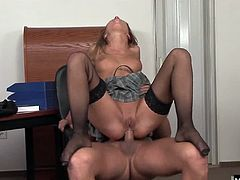 Lauryn wants to get more salary. The main argument is to show her sweet and wet pussy for the boss. She masturbates to seduce him and have anal scene.