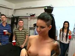 Three irresistibly sexy porn divas Jada Stevens, Ava Addams and Christy Mack invade the dorm. They are completely naked and totally fuckable at a party. Watch them give head and ride cocks like mad.