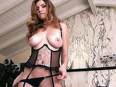 Jamie Lynn with huge knockers and shaved twat touching her beaver, Pinkrod.com