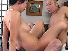 Short haired Japanese girl Sakura Aida with nice perky boobs gets her bush banged on the edge of a desk. She bounces on throbbing cock with her snow white panties on. She's so horny!