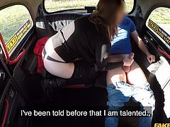 She was meeting her boyfriend for a date, but the taxi driver had another offer. What if she flashed her cunt for him instead. Her hairy pussy turned him on, and she gets a free ride, because she sucks cock.