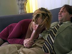 It's just impossible to deny a mature woman, especially when she is so horny as Penny Sue. It was an incredible luck for her that Eric knocked at her door with a request for help. Horny granny did not even ask what kind of help he needed, she just pulled out his cock and started to suck on it.