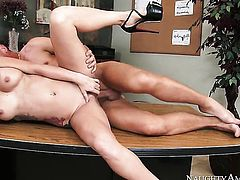Tattoos Monique Alexander with gigantic breasts and smooth snatch gives double handed tugjob, HotSha