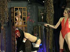 If domination is your passion, prepare for a sensory overload! This scene is full of pleasure, pain, humiliation, and much more. Enjoy the ladies here and everything they do. Watch the slaves take everything they're given and still want more (but only by permission from their master!)