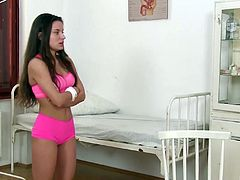 Anita Bellini is a bored brunette who loves to explore her tight hole