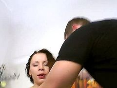 Rita Martin is one horny horny with perky tits, big ass and  dripping wet shaved snatch. She gets face fucked with legs wide open and then gets her pink love hole filled with throbbing cock.