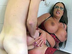 Things get out of control in the driving school! Four-eyed juicy woman Emma Butt with huge tits and well hung skinny guy  Danny D have a good time fucking together. She loves drilling her dripping wet hole.