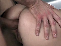 Marina with natural big tits has a thing for having all of her holes stuffed during sex. Her massive jugs are shaking while he's pounding her in doggy. It's a thing of beauty