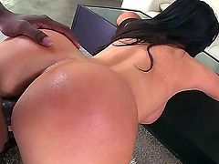 Nikki Benz is a brunette with a massive and round ass. She wears stockings and she takes on a huge bbc. Her tight ass and her are screaming for more of that big black thick schlong