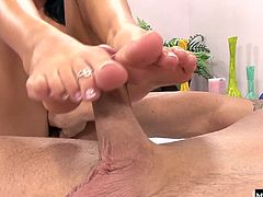 She gladly sucks his cock, thats for sure And opens up her pussy to get it stretched out by his big dick. But her favorite way to show off her new polish is to polish his knob, and milk out every last drop of his climax all over those soles
