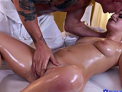 She is getting hornier as he rubs he hands all over her beautiful oiled body. This blonde is quivering in anticipation of his big cock sliding into her warm pussy. Watch her cum so hard by his big dick.