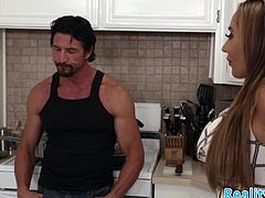 Petite stepdaughter screwed in the kitchen