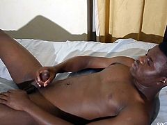 Isma is a black African twink who likes watching gay porn during his free time. We look in on the young man, as he gets turned on by the video hes selected and soon his big ebony cock is out and ready for action. He strokes that monster meat with determination, while letting the porn take him into a fantasy hed rather be part of. Eventually Isma reaches that point of no return and releases a cum gusher that splatters all over the bed.