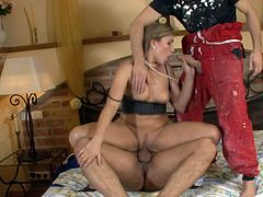 Evelina Marvellou is a gorgeous MILF fucked by a couple of workers