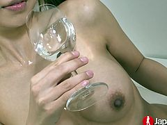 Lubed Asian babe Ryuu Narushima is dildo fucking her crazy pussy