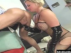 Hardening upskirt of her smooth legs, blonde haired MILF, Monique Cortknee agrees to free the installation package if she dresses up in a fishnet body suit that has crotchless pantyhose so he can lick her pussy and she can toss his salad, before she gets screwed and facialed, while you check out her big tits.