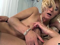 She calls in the college staffer to her office. She starts rubbing his cock, then orders him to strip down so she can suck his cock like a vacuum before getting her old pussy used hard Even though shes already wearing a pearl necklace, the little bits of cum that dribble from her lips counts for both kinds of cum shots
