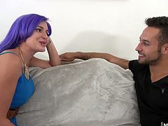 Now, shes the wildest one of the bunch with tattoos and purple hair, Alexxa loves showing off her skills at giving head Her boyfriend gives her tight teen pussy a deep pounding .