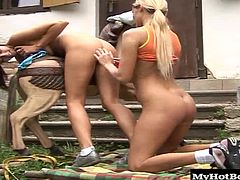 The brunette starts licking the blondes belly, getting her hot and bothered, until she slides a dildo into her lesbian lovers shaved crotch, screwing her until she reaches an orgasm. Finally, its the blondes turn to cum.