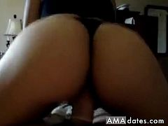 Hot brunette girlfriend gets fucked on film by her horny boyfriend. She moans as she gets her plump pussy fucked by him in missionary while she stimulates her big clit with a vibrator, then she rides his piece in reverse cowgirl position, so he can revel at the view of her beautiful ass in thongs as it bounces on his prick.