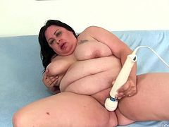 Sexy BBW shows her fat ass juicy tits and plump pussy Then she rubs her pussy with fingers Then she fucks her pussy with a dildo and later she tease her pussy with a vibrator until she gets orgasm
