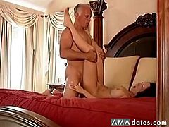 He is all grey and bald but he still has a hot wife with big tits that knows ho to squeeze every last drop of cum out of his old cock and she does so well, riding his cock and letting him fuck her nicely.