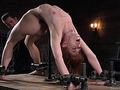 Her master prepared something special for Alexa. While being placed in a hard metal bondage device, she gets her pussy fingered to orgasm and stimulated with the help of vibrator. Relax and have fun!